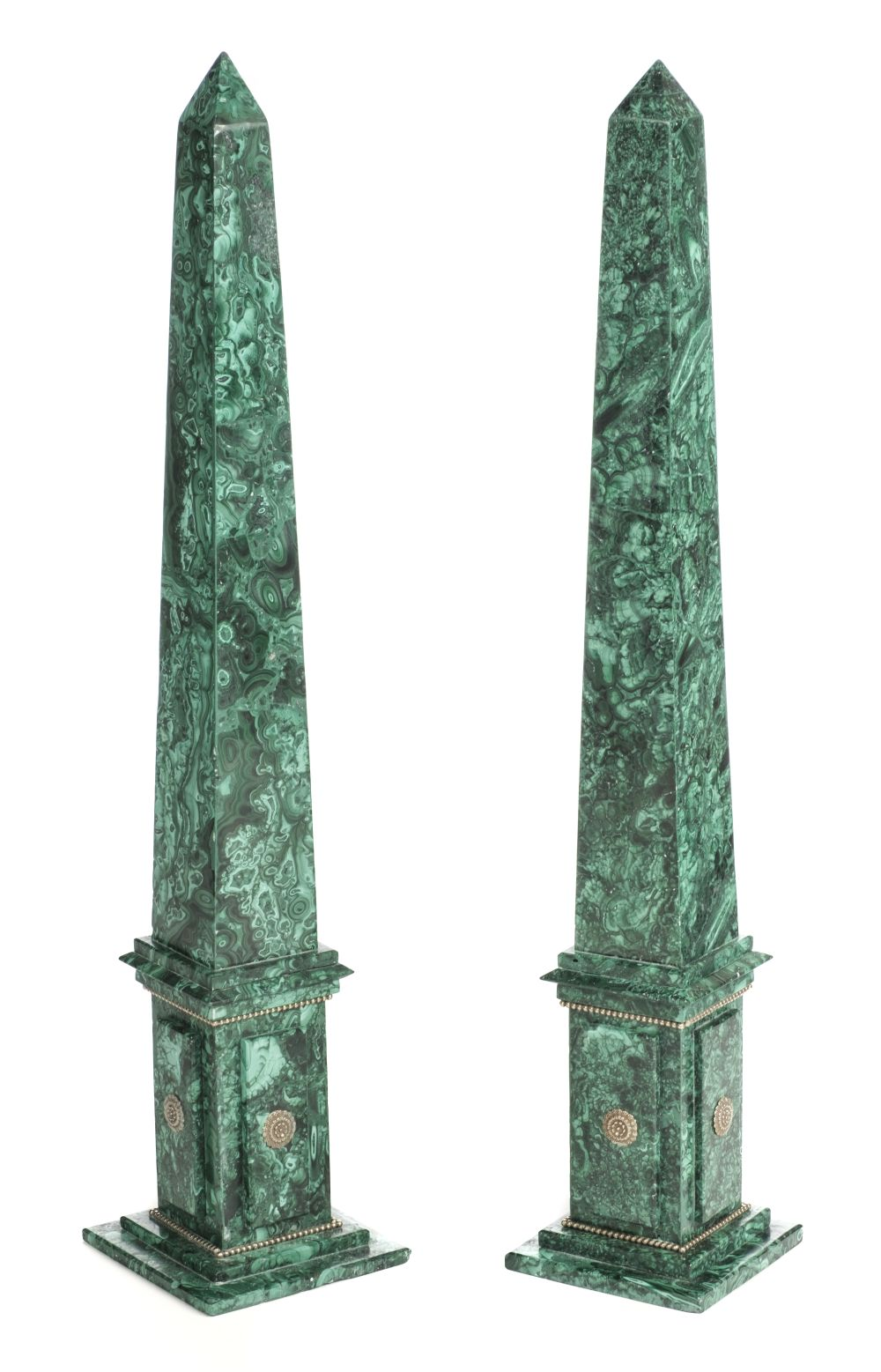 * Obelisks. Pair of Malachite obelisks