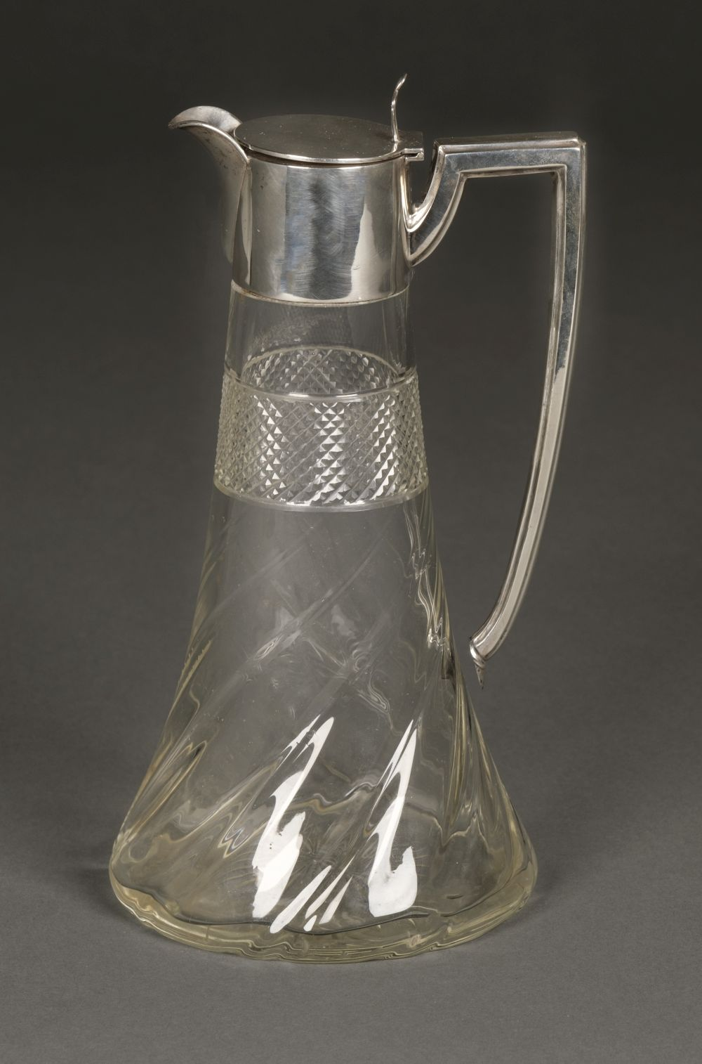 * Claret Jug. Silver top claret jug by Walker & Hall, Sheffield, 1909