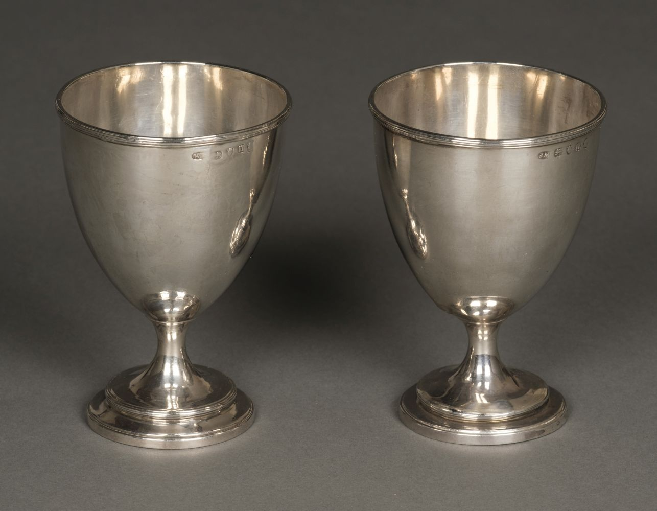 * Goblets. Pair of George III silver goblets by William Pitts, London, 1788