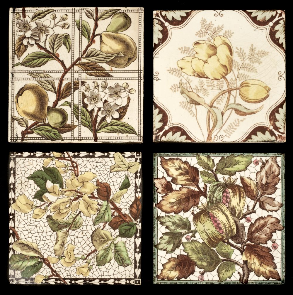 * Tiles. Mixed collection of Victorian pottery tiles