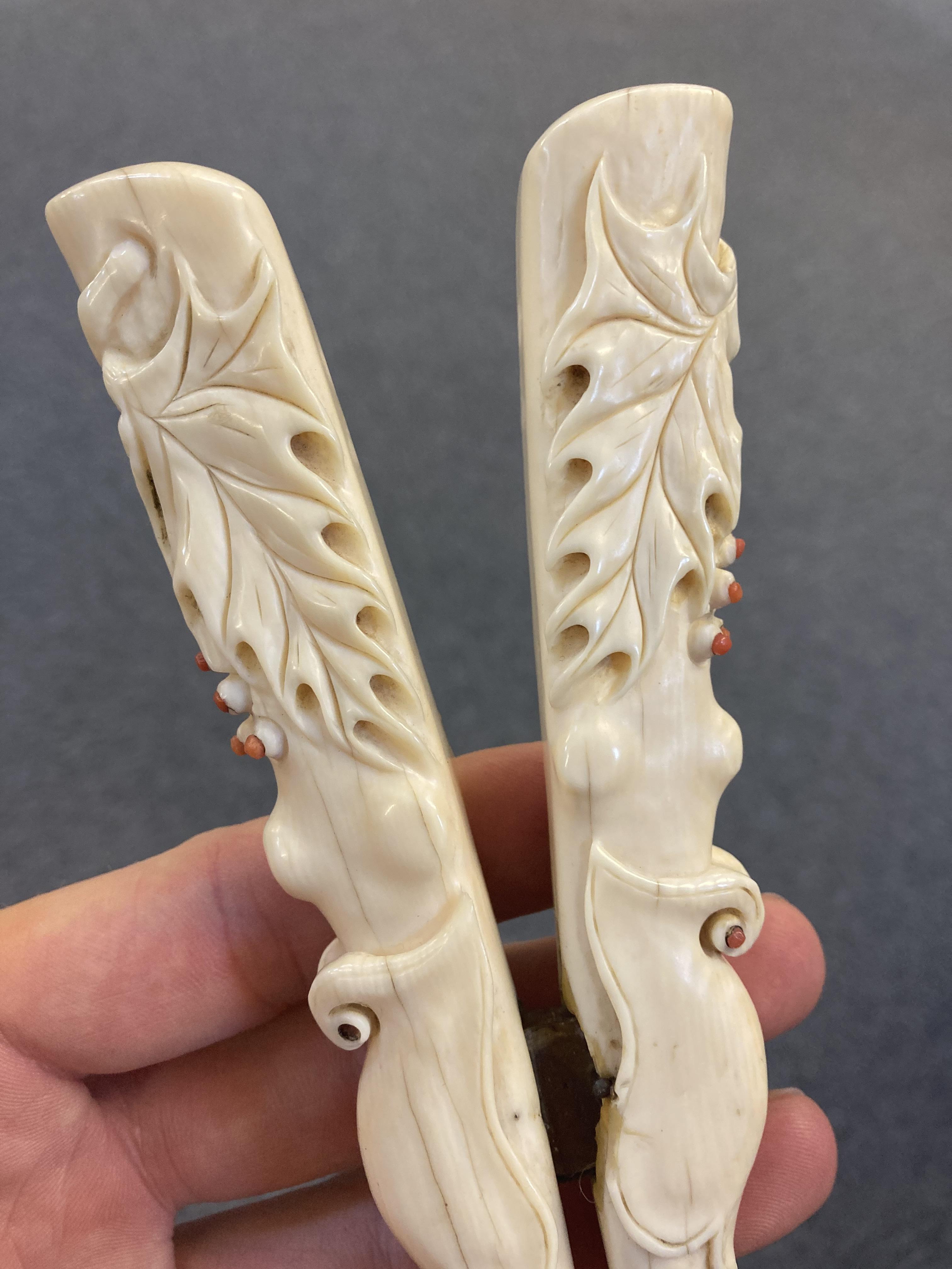 * Glove Stretchers, Victorian ivory glove stretchers - Image 7 of 10
