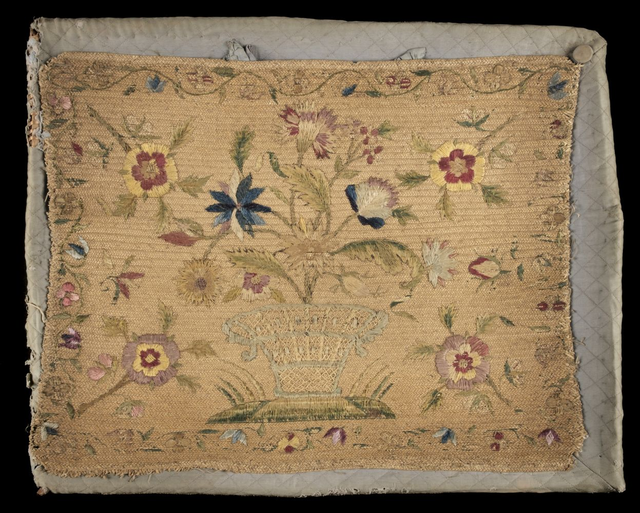 * Embroidered basket. A straw-work layette tray, probably English, mid 18th century