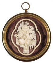 * Dieppe Ivory. 19th century Dieppe ivory floral carving