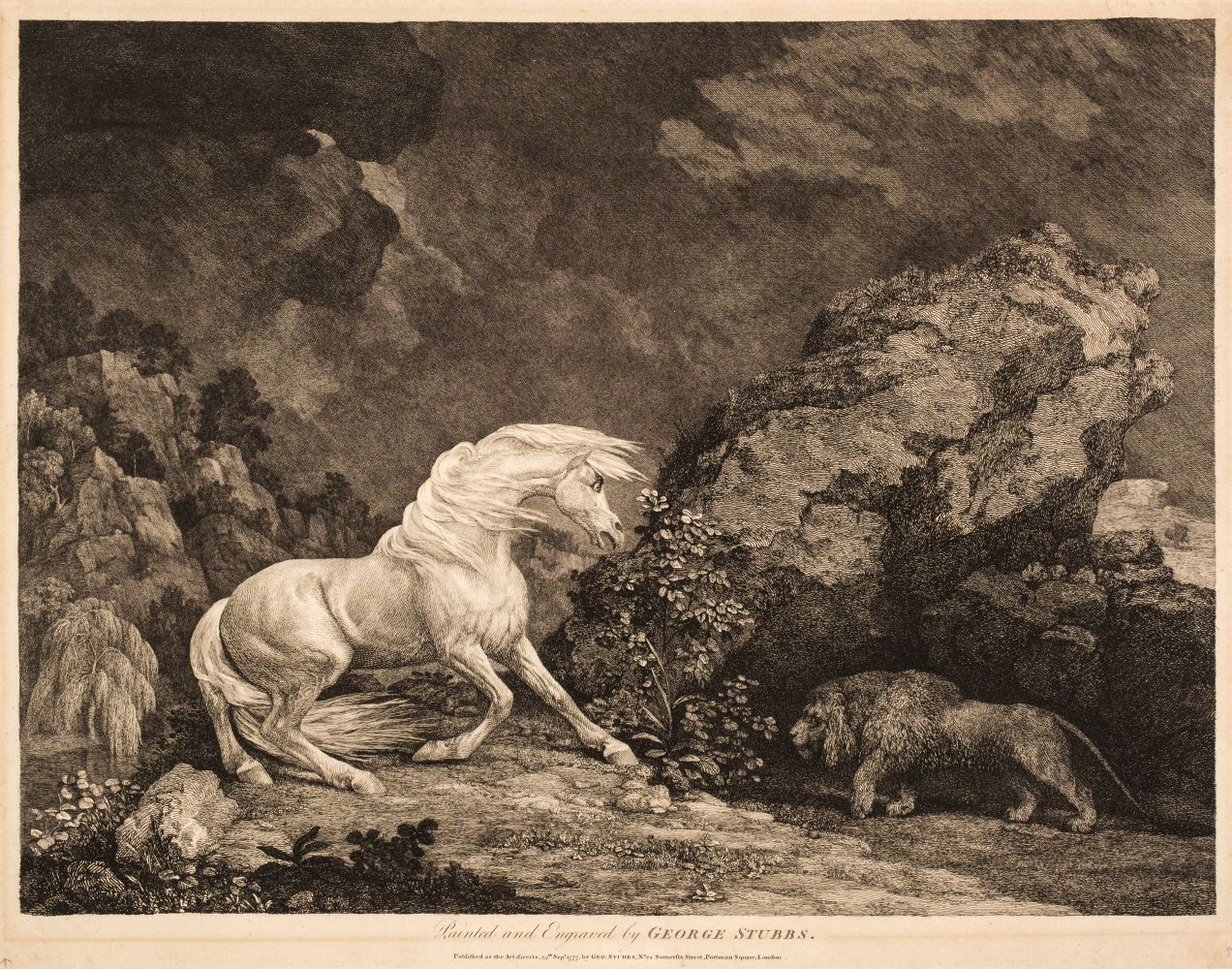 * Stubbs (George). A Horse Affrighted by a Lion, 1777