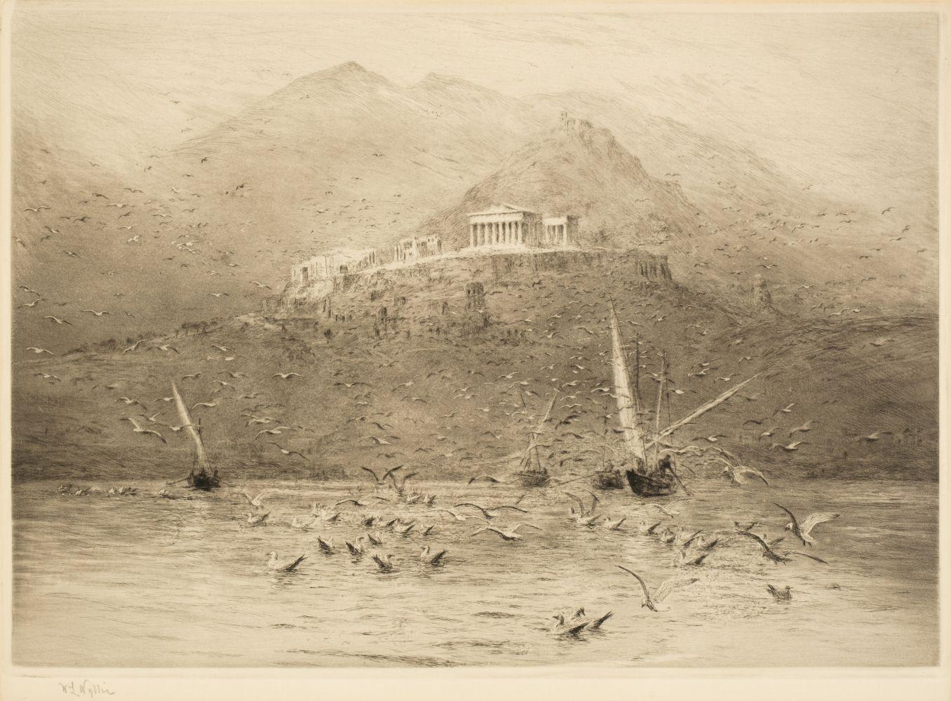 * Wyllie (William Lionel, 1851-1931). The Poseidon Temple, Attica, circa 1920
