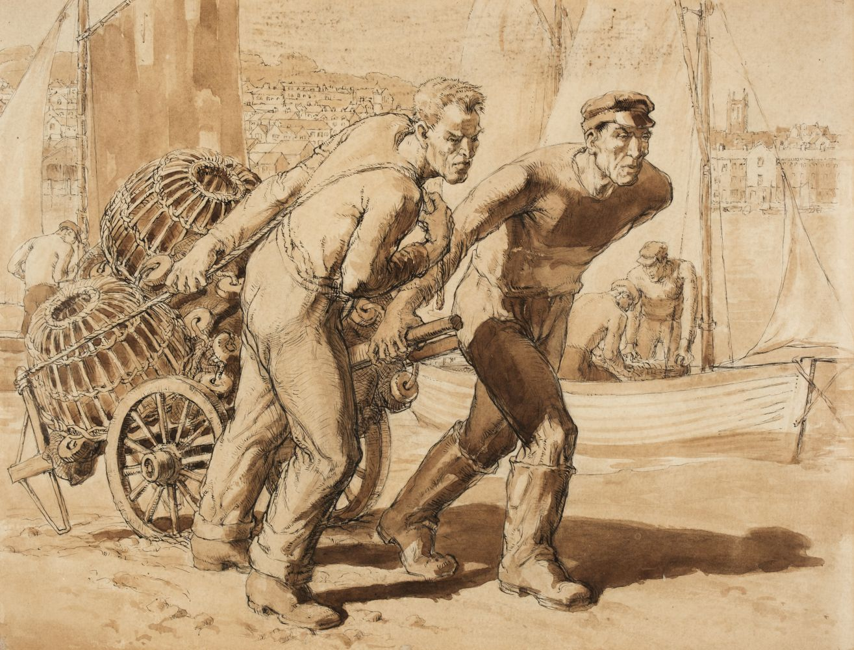 * Dearden (Harold, 1888-1962). Fishermen hauling creels