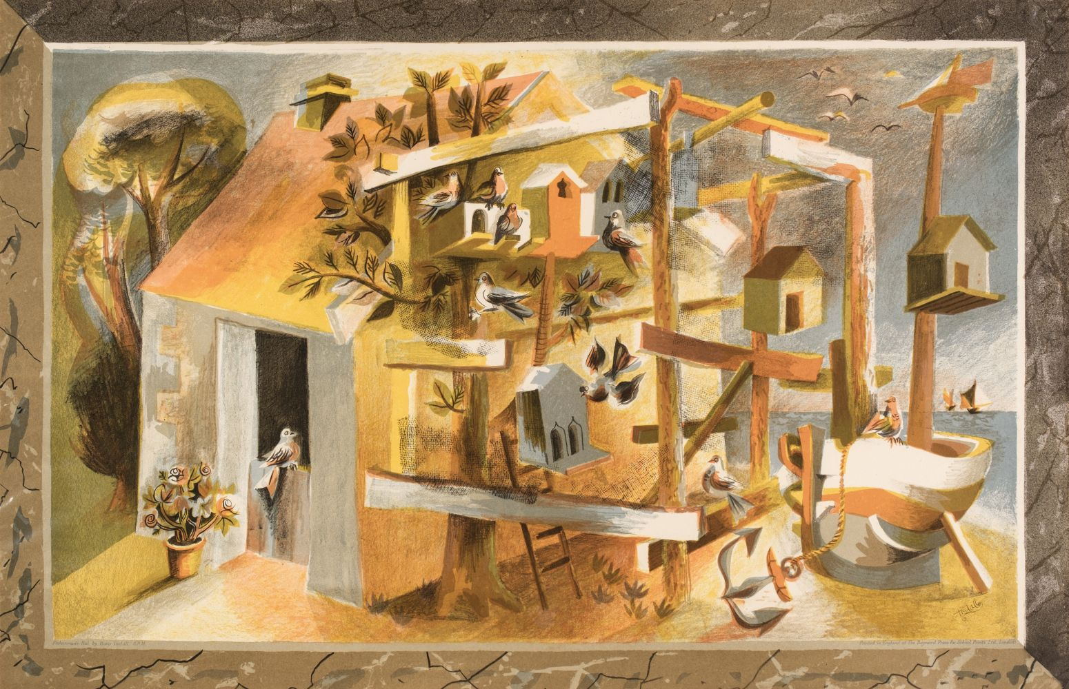 * Tisdall (Hans, 1910-1997). Fisherman's Hut, 1946, colour lithograph, and two other School Prints