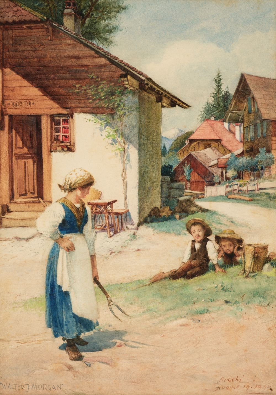 * Morgan (Walter Jenks, 1847-1924). A Swiss Village, Bernese Oberland, 1893