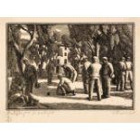 ARR * § Raverat (Gwen, 1885-1957). Bowl Players in Sunlight, Venice, 1922