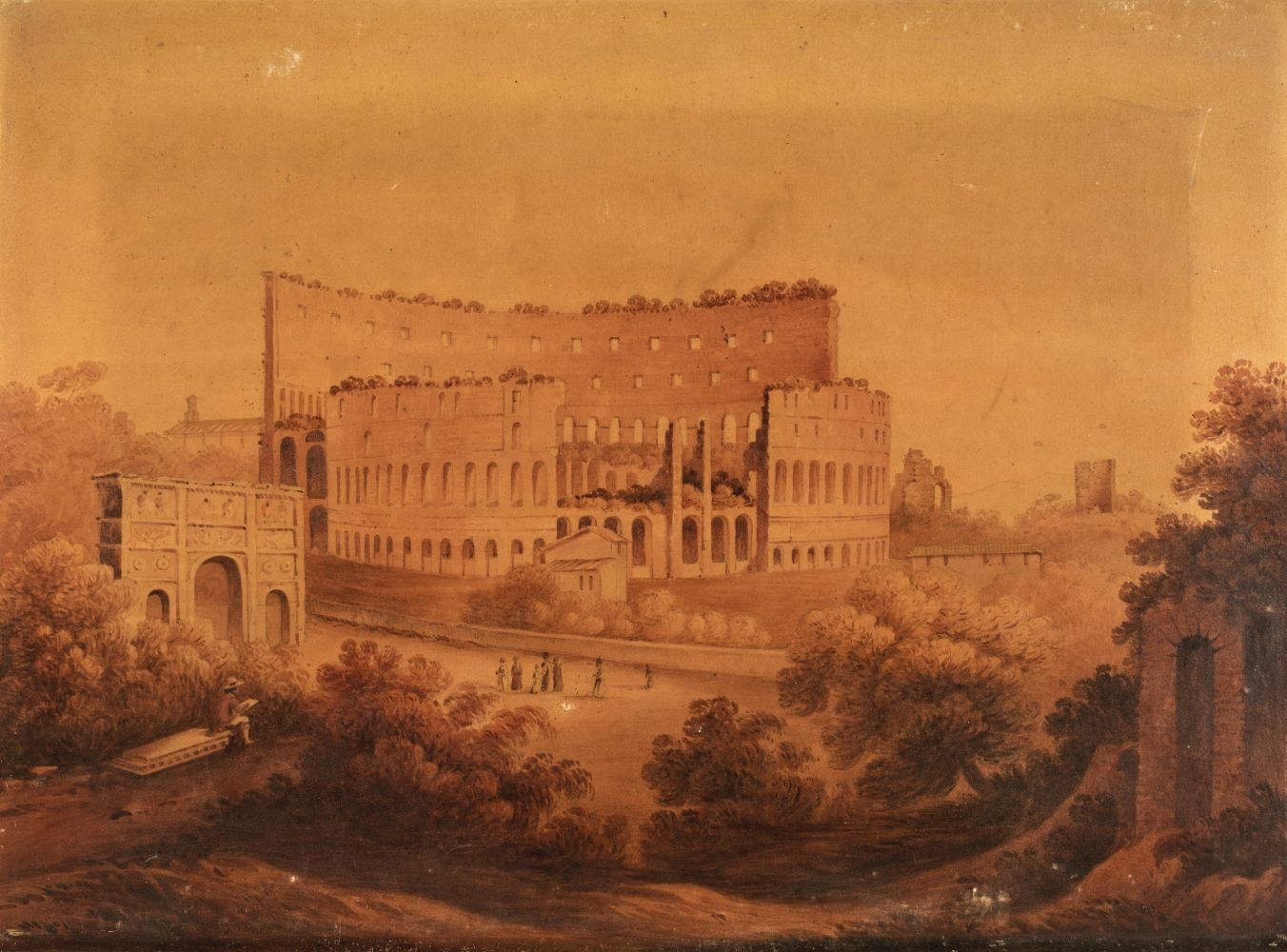 * English School (early 19th century). The Colosseum at Rome