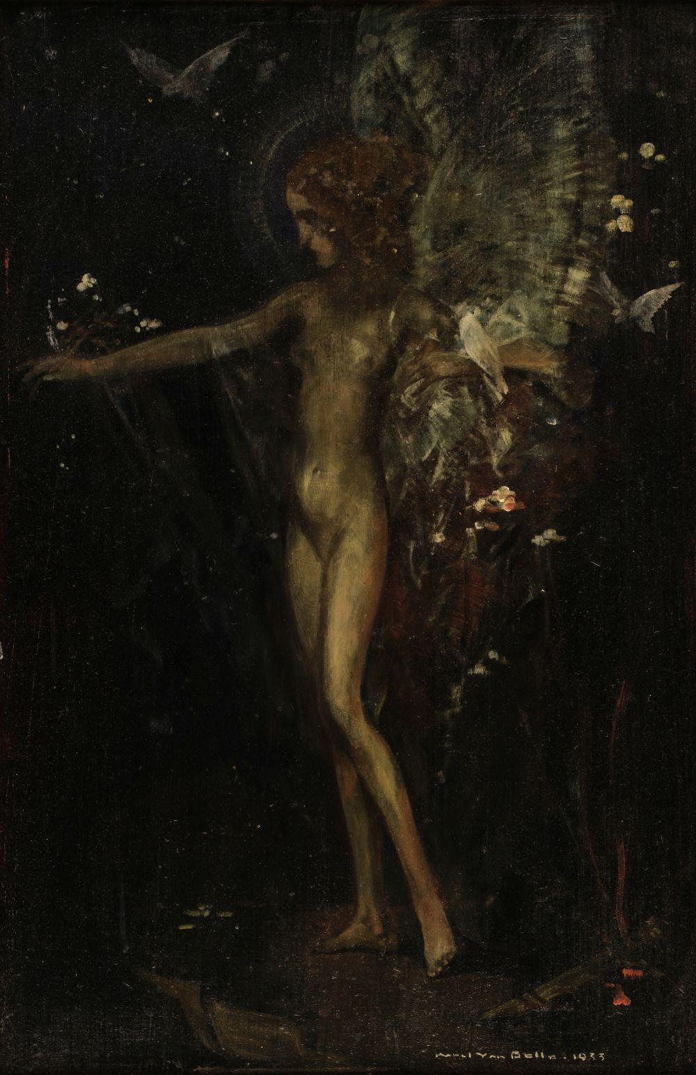 * Van Belle (Karel, 1884-1959). Fairy with doves in a dark glen, 1933