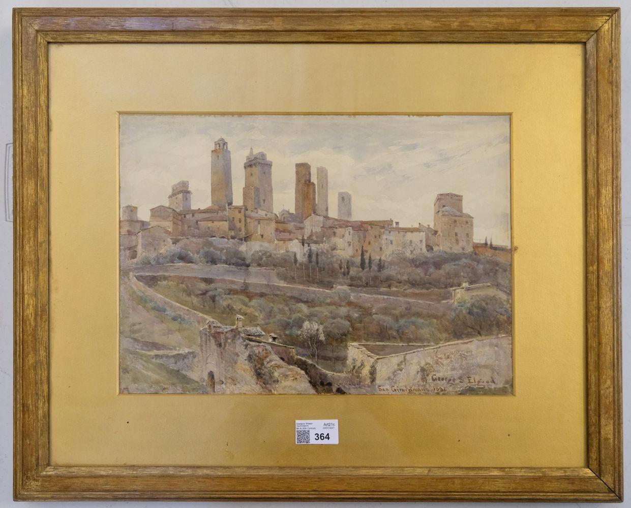 * Elgood (George S., 1851-1943). San Gimignano, 1881 - Image 2 of 6