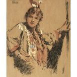 ARR * § Conor (William, 1881-1968). Mary Isabel Fullerton as Minnehaha, coloured chalks
