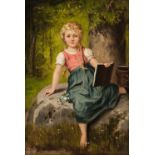 * Meunier (Franz, active circa 1900). Young girl seated, & Young boy with satchel, pair of oils
