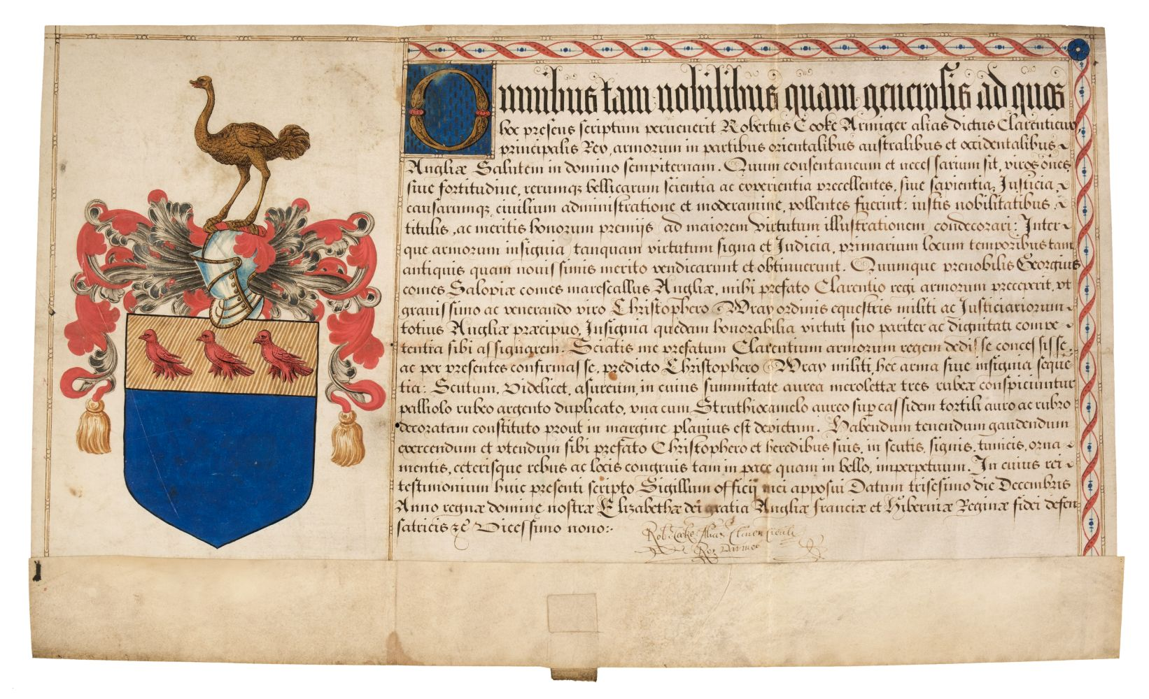 * Wray (Sir Christopher, c. 1522-1592). Patent of Arms by Robert Cooke, 1586