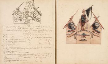 D'Oyly (Charles). Armoury Book, circa 1860