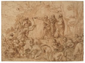 * Romanelli (Giovanni Francesco, 1610-1662, attributed to). Moses striking water from the rock,