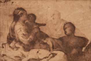 * Mola (Pier Francesco, 1612–1666). Holy Family, pen and brown ink and wash