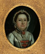 * Glass Paintings, 18th Century, Glass Painting of a Lady, and four hand-coloured mezzotints