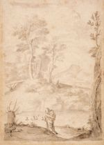 * Lanfranco, Giovanni, Follower of (1582-1647), St Anthony in the Wilderness, pen, ink and wash