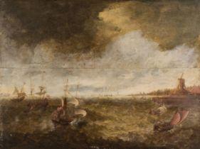 * Dutch School, 17th Century School, Dutch galleons on choppy seas
