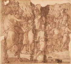 * Italian School, Battle Procession with Pikebearers, pen and brown ink and wash