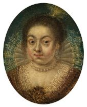 * English School. Oval portrait miniature of a lady, circa 1580-1600
