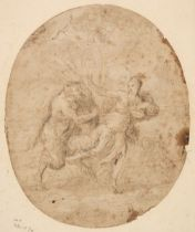 * Roman School. Nymph chased by a Satyr, early 17th century, pen and brown ink