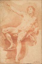 * Van Loo (Carle, 1705-1765). Academy study: Reclining male nude with raised arm