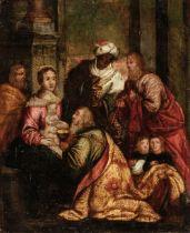 * Flemish 17th century School, Adoration of the Magi, oil on copper
