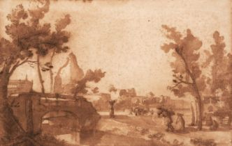 * Cantagallina, Remigio (1582-1630) View of Pisa, pen and brown wash