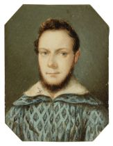 * Continental School. Portrait miniature of a bearded young gentleman, Northern European, 17th
