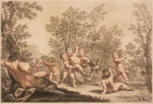 * Bartolozzi (Francesco, 1727-1815). Bacchanal of putti, after Franceschini