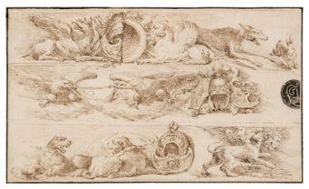 * Bella, Stefano della (1610-1664), After, Fantasia di Animali, pen and brown ink