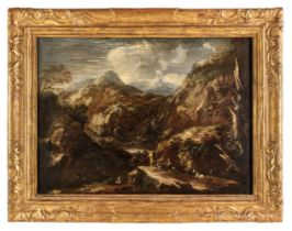* Rosa (Salvator, 1615-1673), Circle of, An extensive mountainous landscape with hunters