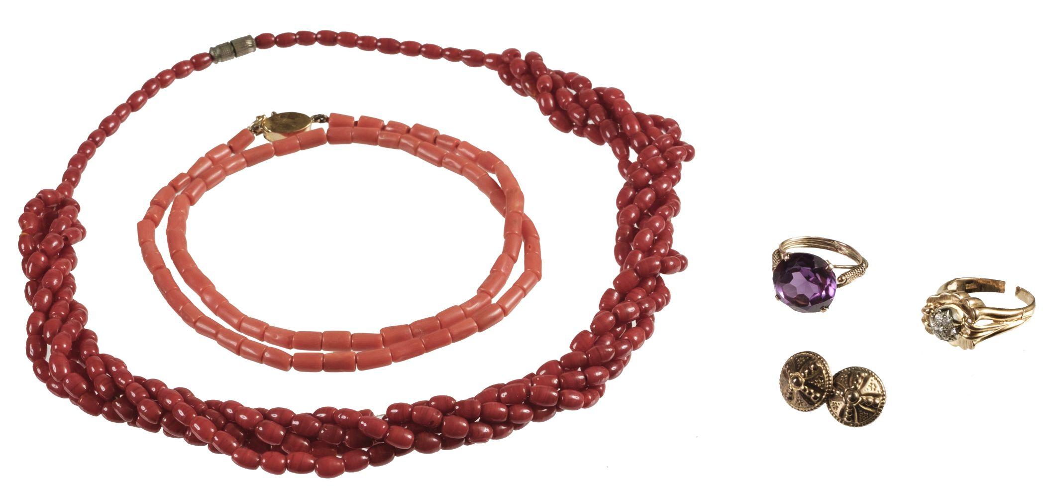 * Mixed Jewellery. Coral necklaces, gold rings and other items
