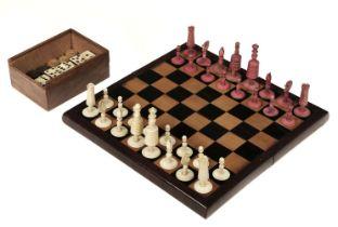 "* Chess. A 19th-century bone ""Selenus"" pattern chess set"