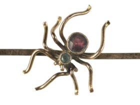 * Brooch. An Edwardian 9ct gold spider brooch