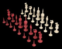 * Chess. A 19th-century Anglo-Indian carved ivory chess set