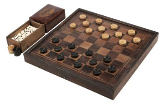 * Draughts. Victorian boxwood draughts and dominoes