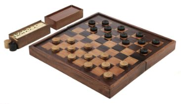 * Draughts. 19th-century boxwood draughts and other items