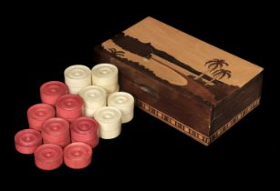 * Draughts. Victorian turned ivory draughts