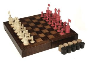 """* Chess. A 19th-century English bone chess set carved in the """"Barleycorn"""" pattern"""
