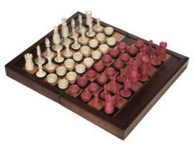 * Chess. A 19th-century Calvert style ivory chess set