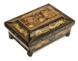 * Games Box. A Regency chinoiserie papier-mâché games box