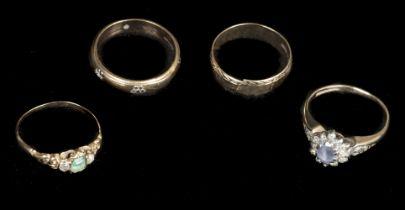 * Rings. Four 9ct gold dress rings