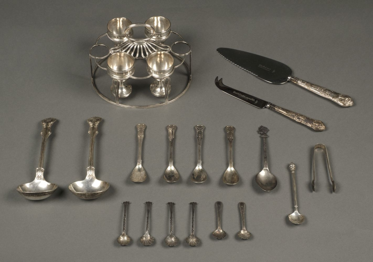 * Mixed Silver. A Victorian egg cruet set and other items