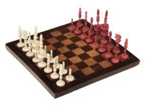 "* Chess. A 19th-century ivory ""Selenus"" travelling chess set"
