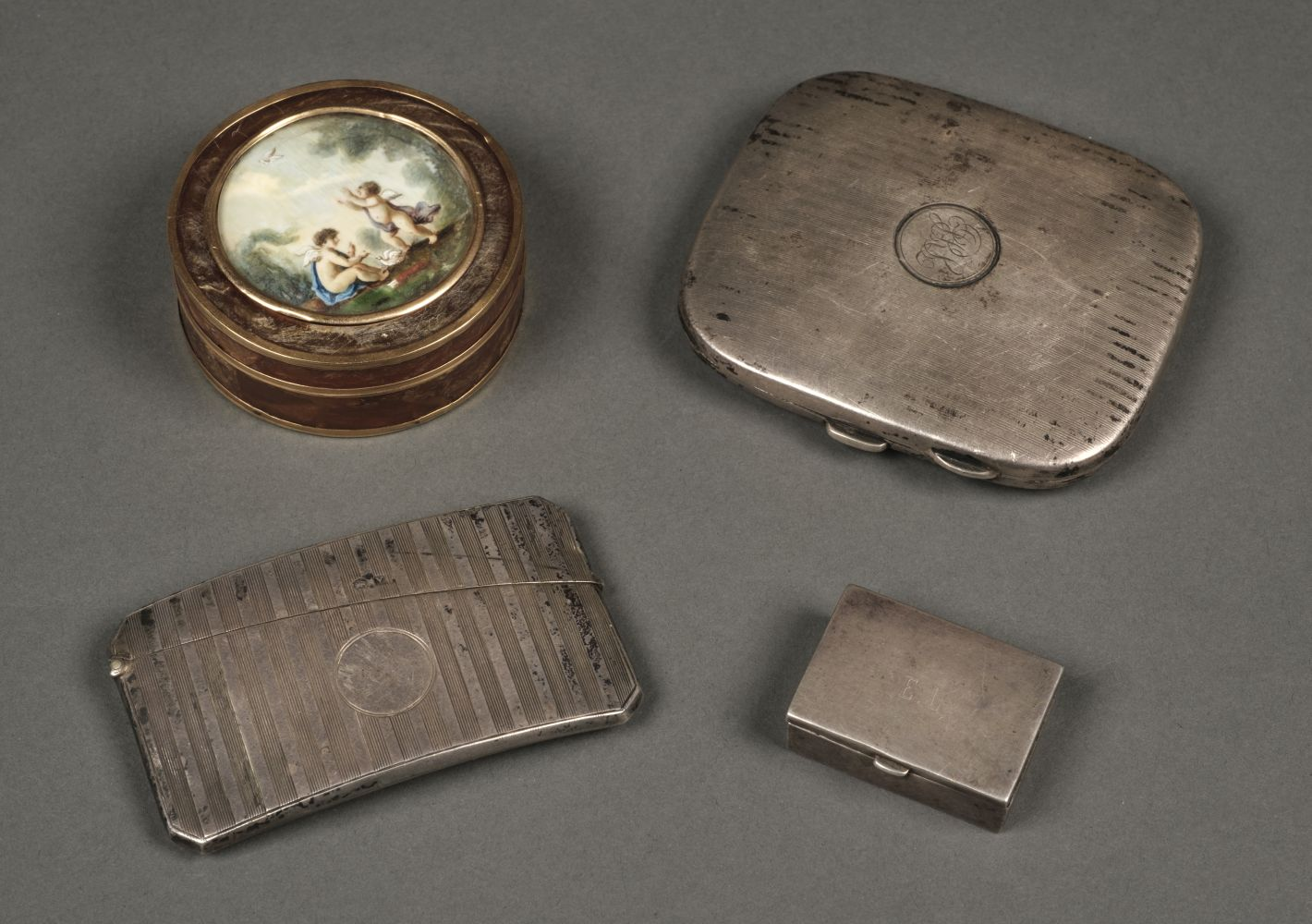 * Silver Card Case. A mixed collection of silver and 18th-century patch box
