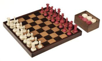 "* Chess. A 19th-century ivory ""Staunton"" pattern chess set"